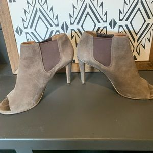 COACH brown/dark grey suede bootie open toe heels
